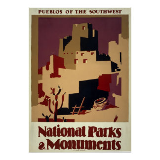 Pueblos of the Southwest - Vintage WPA Poster