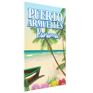 Puerto Armuelles Panama Beach travel poster Canvas Print