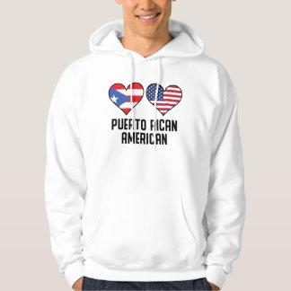 Puerto Rican American Heart Flags Hoodie