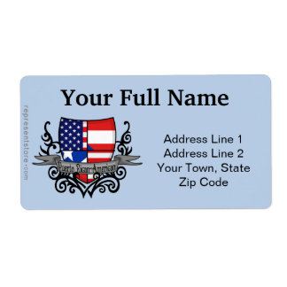 Puerto Rican-American Shield Flag Shipping Label