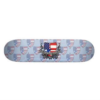 Puerto Rican-American Shield Flag Skate Deck