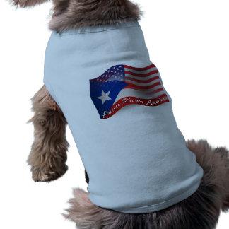 Puerto Rican-American Waving Flag Sleeveless Dog Shirt