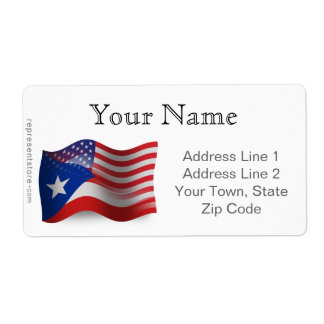 Puerto Rican-American Waving Flag Shipping Label