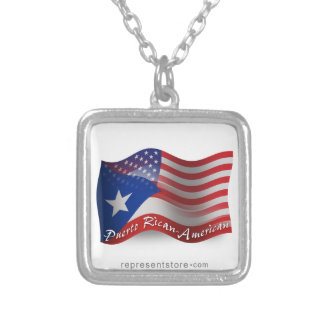 Puerto Rican-American Waving Flag Square Pendant Necklace