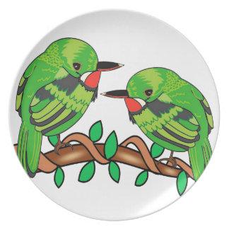 Puerto Rican bird love art Plate
