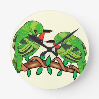 Puerto Rican bird love art Round Clock