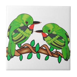 Puerto Rican bird love art Tile