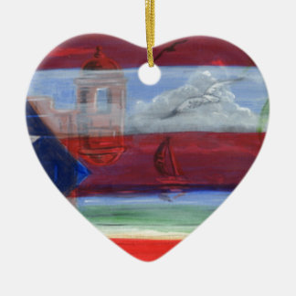 Puerto Rican Flag Hand Painted With San Juan Beach Ceramic Ornament