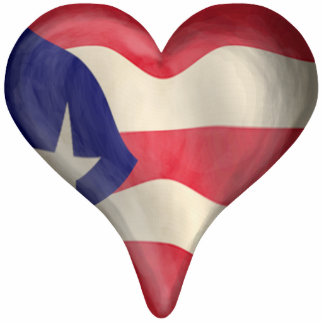 Puerto Rican Flag In A Heart Standing Photo Sculpture