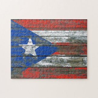 Puerto Rican Flag on Rough Wood Boards Effect Jigsaw Puzzle