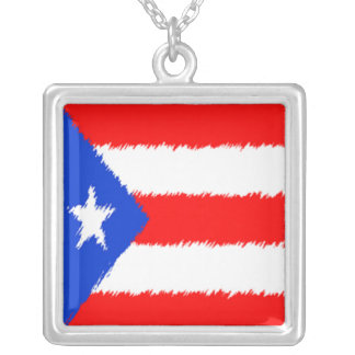 Puerto Rican Flag Silver Plated Necklace