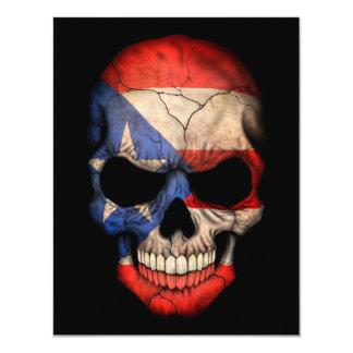 """Puerto Rican Flag Skull on Black 4.25"""" X 5.5"""" Invitation Card"""