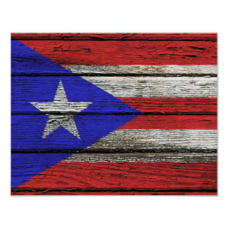 Puerto Rican Flag with Rough Wood Grain Effect Poster