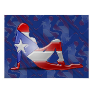 Puerto Rican Girl Silhouette Flag Poster