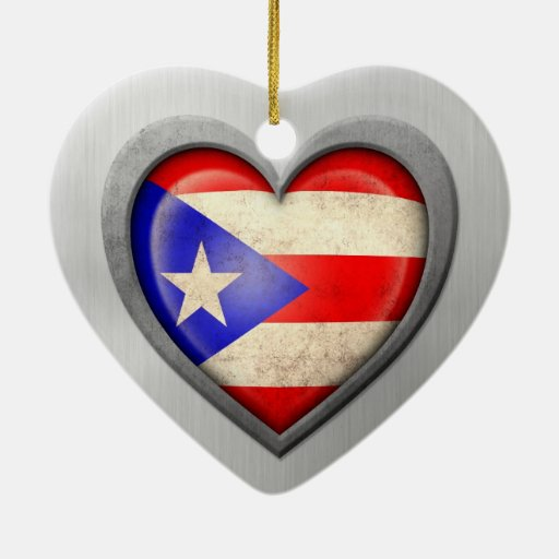Puerto Rican Heart Flag Stainless Steel Effect Ornament