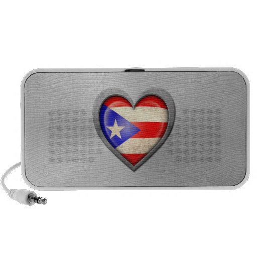 Puerto Rican Heart Flag Stainless Steel Effect Portable Speakers
