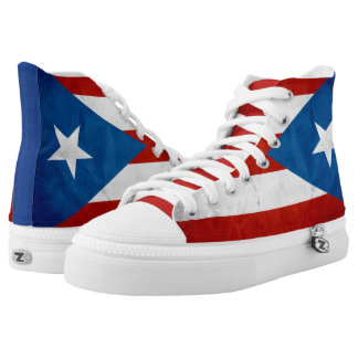Puerto Rican Pride Grunge Flag Printed Shoes