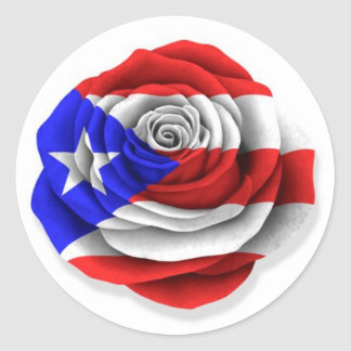 Puerto Rican Rose Flag on White Round Sticker