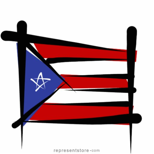Puerto Rico Brush Flag Cut Out