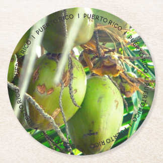 Puerto Rico Coconuts Tropical Round Paper Coaster