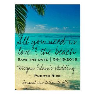 Puerto Rico Destination Wedding Save the Date Postcard