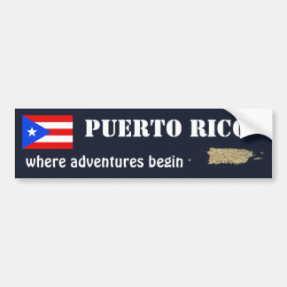 Puerto Rico Flag and Map Bumper Sticker Car Bumper Sticker