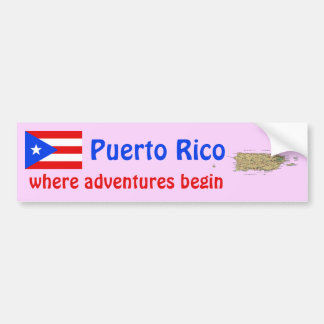 Puerto Rico Flag and Map Bumper Sticker
