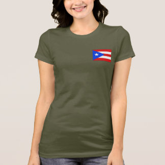 Puerto Rico Flag and Map dk T-Shirt