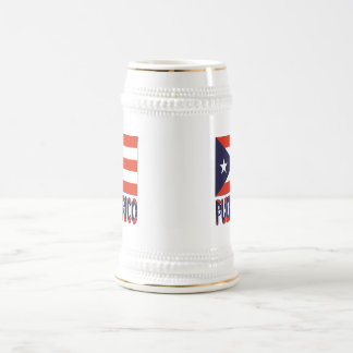 Puerto Rico Flag and Word Beer Stein