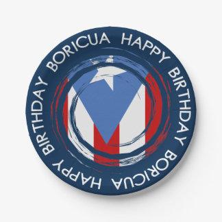 Puerto Rico Flag Boricua Theme Birthday 7 Inch Paper Plate