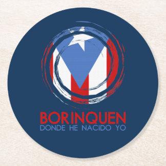 Puerto Rico Flag Borinquen Round Paper Coaster