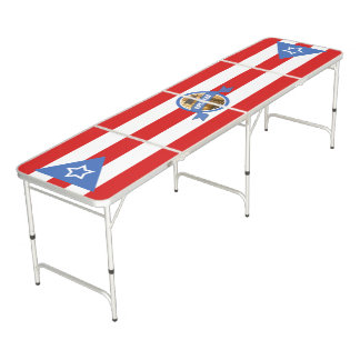 Puerto Rico Flag Game Personalized Pong Table