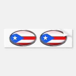 Puerto Rico Flag Glass Oval Bumper Sticker