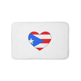 Puerto Rico Flag Heart Bath Mat