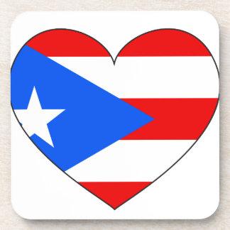 Puerto Rico Flag Heart Coaster