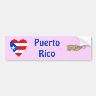 Puerto Rico Flag Heart + Map Bumper Sticker