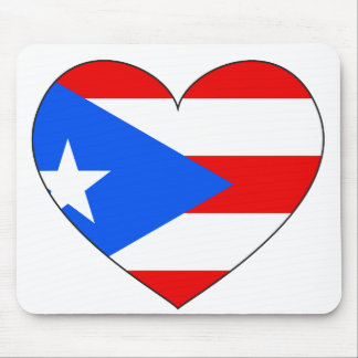 Puerto Rico Flag Heart Mouse Pad