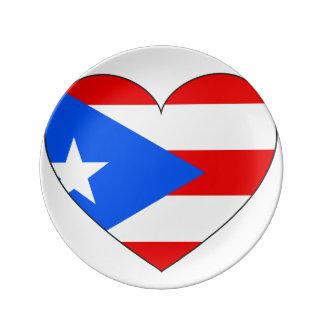 Puerto Rico Flag Heart Porcelain Plates