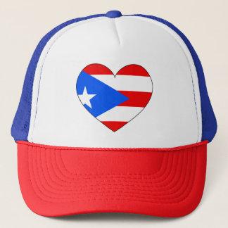 Puerto Rico Flag Heart Trucker Hat