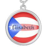 Puerto Rico Flag + Name Necklace