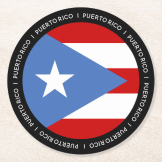 Puerto Rico Flag Round Paper Coaster