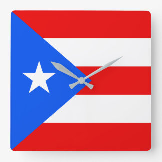 Puerto Rico Flag Square Wall Clock