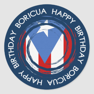 Puerto Rico : Flag Theme: Birthday Boricua Classic Round Sticker