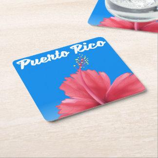 Puerto Rico Flor de maga travel poster Square Paper Coaster