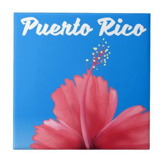 Puerto Rico Flor de maga travel poster Tile