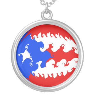 Puerto Rico Gnarly Flag Round Pendant Necklace