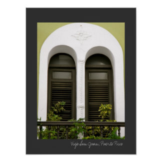 Puerto Rico Green Spanish Architecture Windows Poster