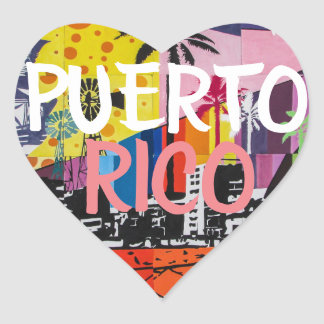 Puerto Rico Heart Stickers