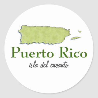 Puerto Rico Map Classic Round Sticker