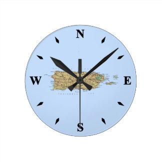 Puerto Rico Map Clock